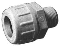 Photo of a threaded bulkhead adapter with internal sealing grommet